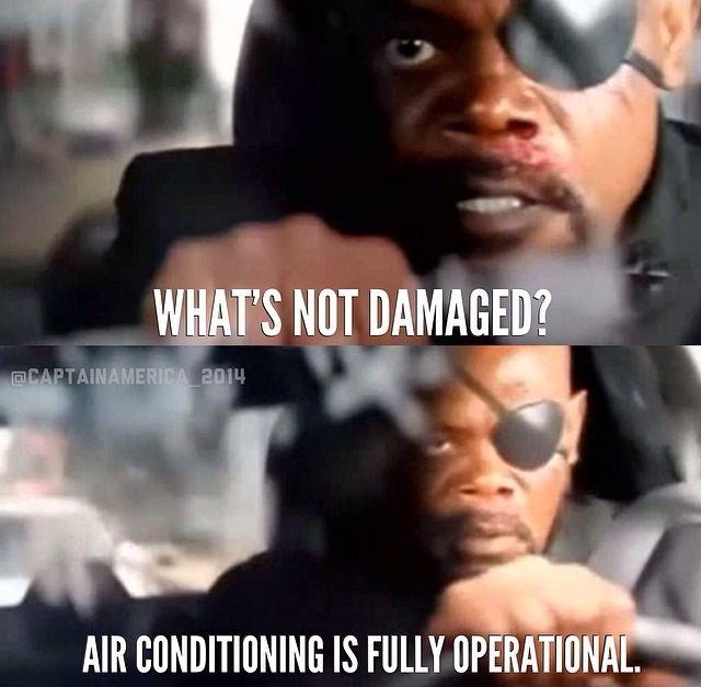 "Hahaha this part "" the AC "" ((: | Captain America 2 | Nick Fury"