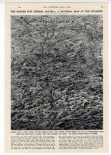 1938 Print PICTORIAL MAP GERMANY Hitler INVADES AUSTRIA Makereti Papakura MAORI