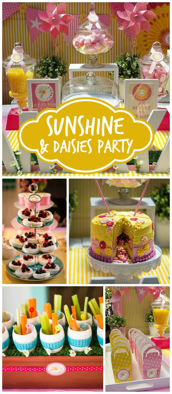 A sunshine and daisies birthday party with a beautiful pink and yellow dessert table and a pinata cake! See more party planning ideas at CatchMyParty.com!
