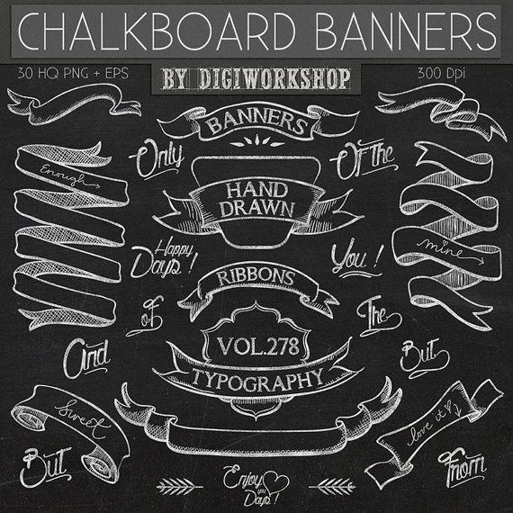 Chalkboard Clip Art: Chalkboard Clipart - Chalkboard Banners hand drawn clipart, banners clipart, ribbons clipart, typography in chalk style    This