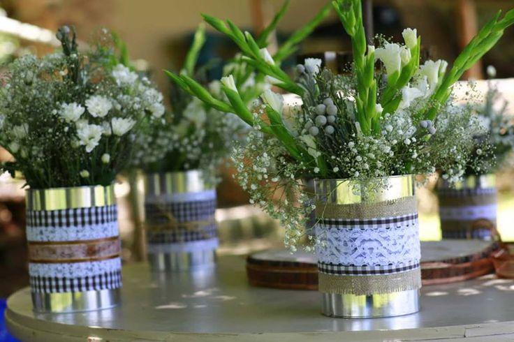 Tin can flower arrangements: gingham, lace & burlap (hessian) detail