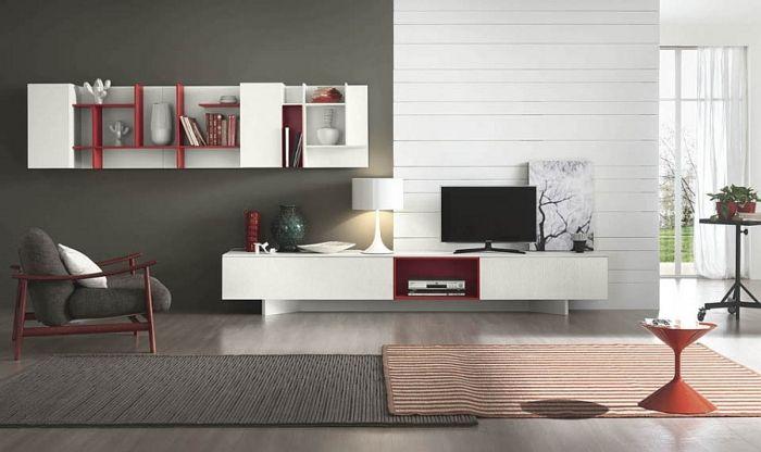 Stilvolle Wohnwand Mit Künstlerischer Freiheit Kreiert | Wohnwände, Möbel