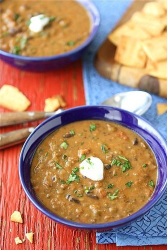 Hearty Lentil & Black Bean Soup with Smoked Paprika...The perfect comfort food! 223 calories & 6 Weight Watcher PP per serving. | cookincanuck.com #vegetarian #vegan #MeatlessMonday