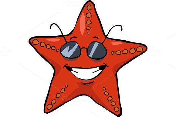 Cartoon starfish in sunglasses by dedmazay on @creativemarket