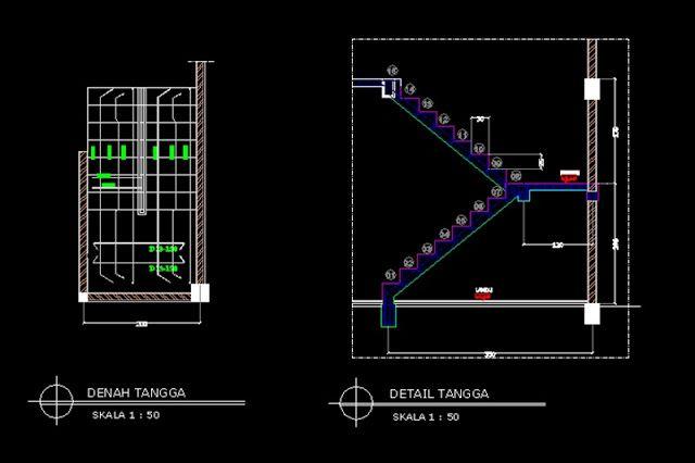 Detail Tangga Rumah Tinggal 2 Lantai File Dwg Lantai Autocad Desain