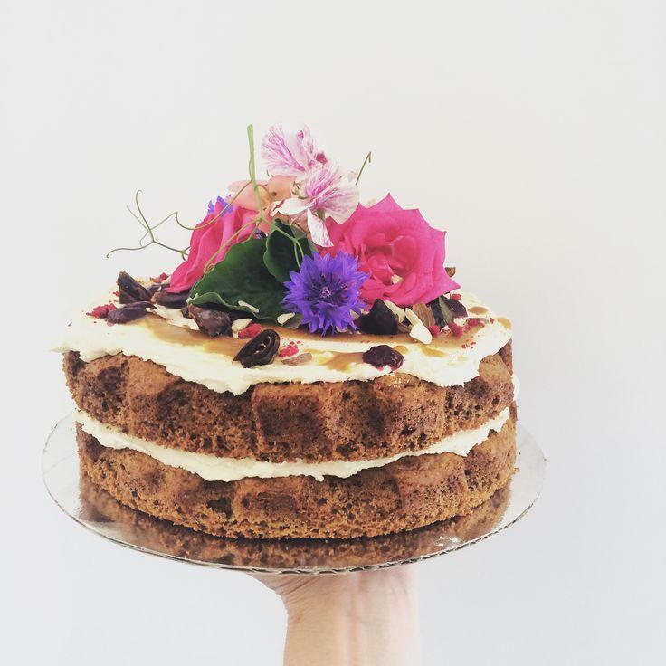 Whisky date salted caramel naked birthday cake