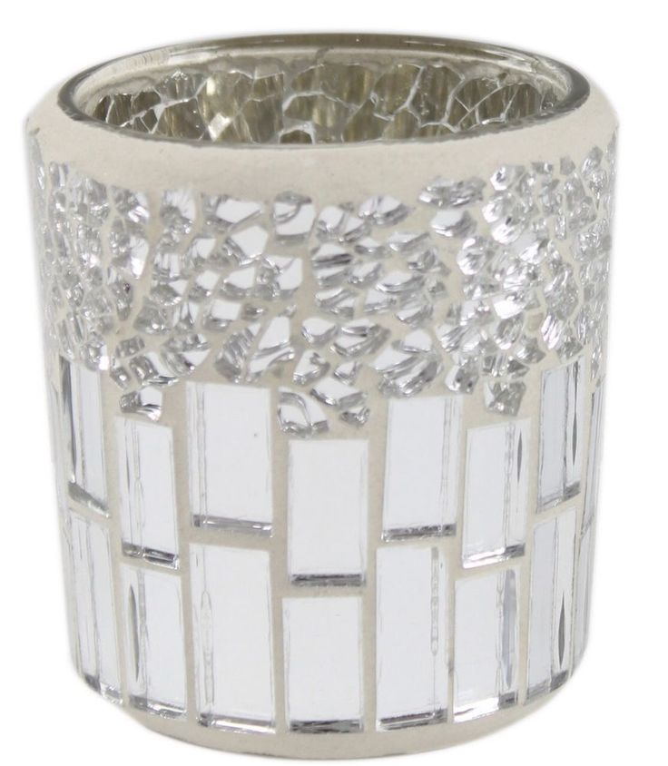 Silver and Chrome Mosaic Tealight Tea Light Holder Cup Candle Ornament Decor