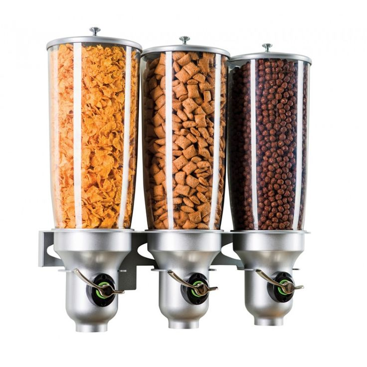 Platinum Wall Mount Free Flow Dispensers: These wall mount platinum cereal dispensers feature the Free Flow mechanism: Simply hold down handle for free flow until desired amount is released. These units maximize convenience and minimize packaging waste and hassle!