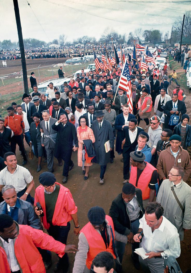King and other civil-rights leaders enter Montgomery, on a 1965 march inspired by James Bevel (left, in skullcap).