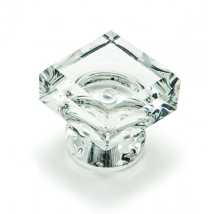 Square Glass Knob 40mm