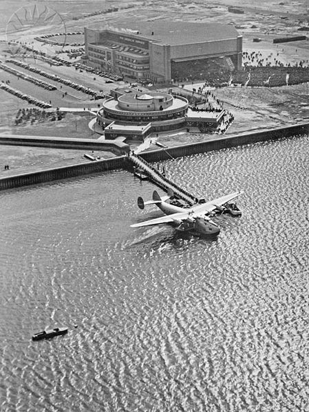 A Pan Am flying boat at the New York City Marine Air Terminal circa the 1940′s - reminded me of Catch me if you can