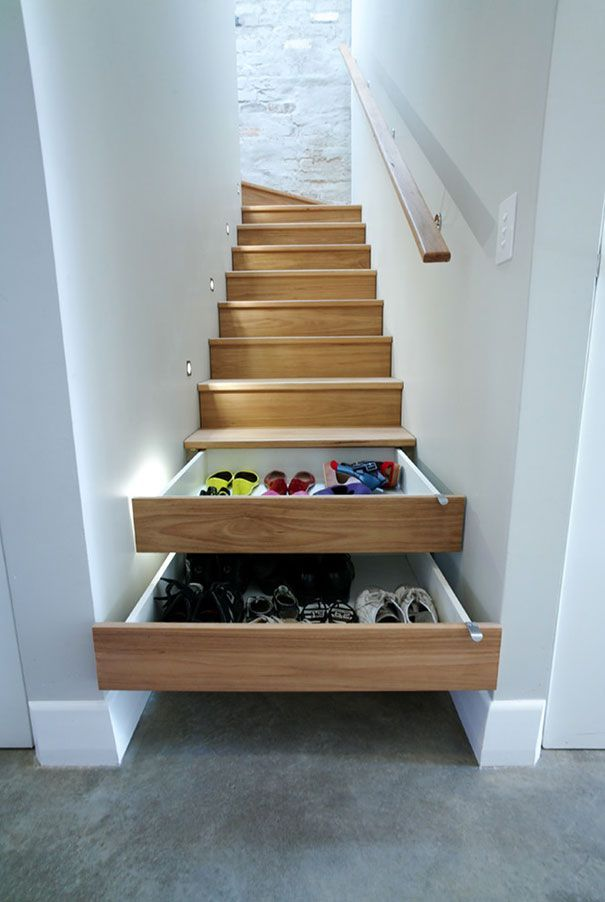 stairs turned into drawers for shoes