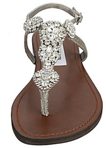 Steve Madden Glaare Flat Sandals in Silver (silver leather) - Lyst...... I want this to be my wedding sandal