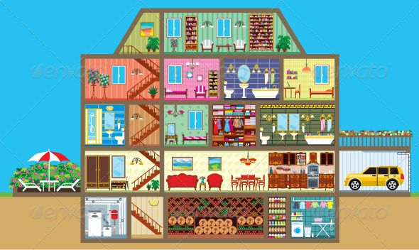 Cartoon house layouts
