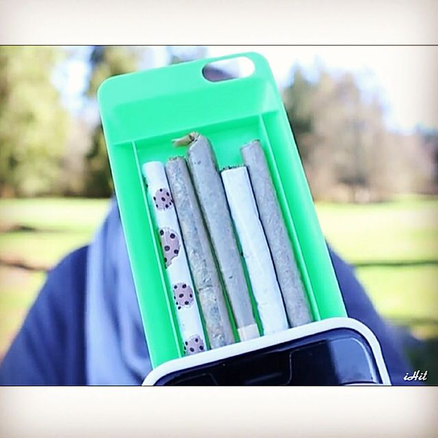 Roll up with the iHit stash phone case! Keep one rolled at theiHit.com  #iHit #stoner #stash #pothead #weed #rolling #joint #phonecase #festival #concert #fashion