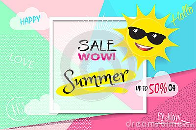 Summer WOW Sale Discount banner. Abstract tropical vector template. 3D heart, tropical frame, Sun with sunglasses, lettering, abstract dynamic exotic background. Love, romantic sales poster. Advertising, Shopping, Marketing gift card punchy pastel