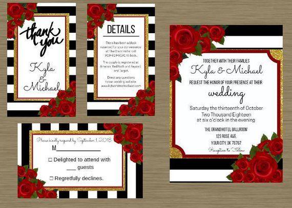 Elegant Wedding Invitation Template Red Roses Black