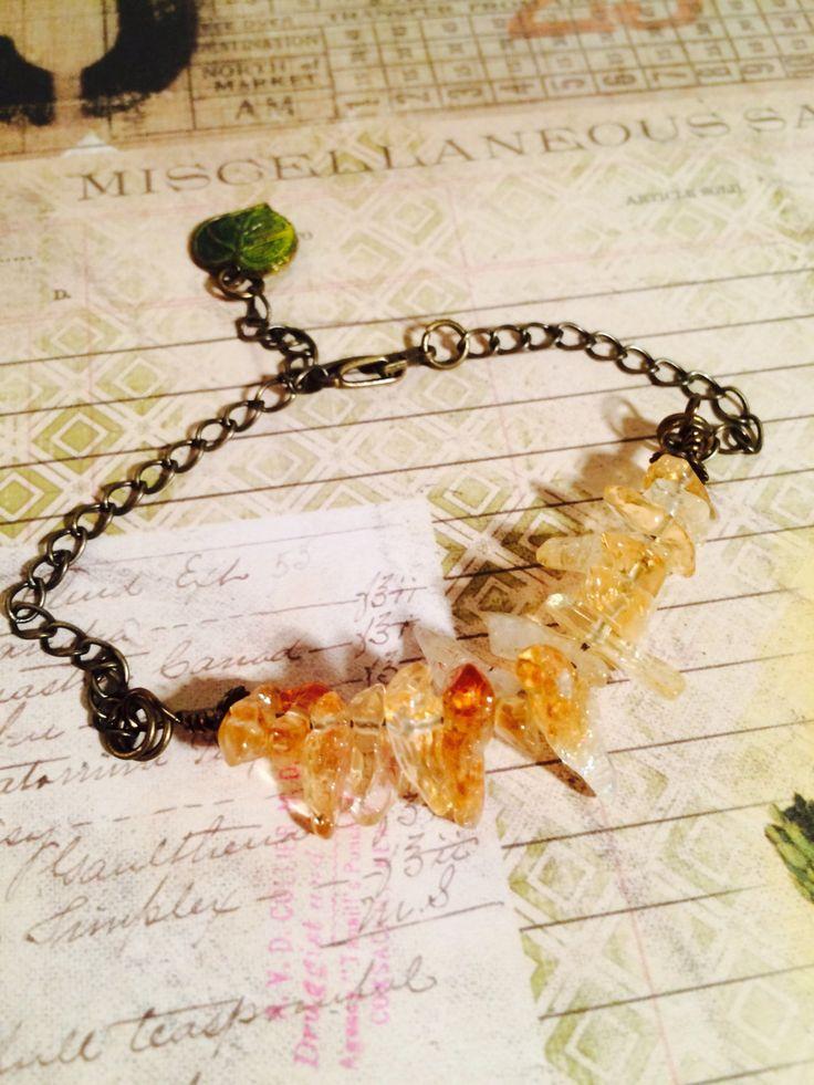 Honey Drip Citrine and Brass Bracelet by GemJelly on Etsy