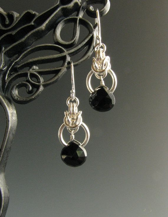 Byzantine Drop Chain Mail Earrings with Black Onyx - Wolfstone jewelry Maybe for butterfly wings?