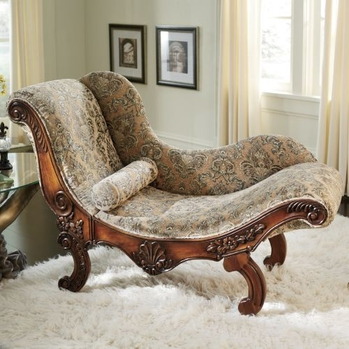 """The """"Drama Queen Chaise"""". Haha! A bit ornate, but I love the shape of it. $400"""