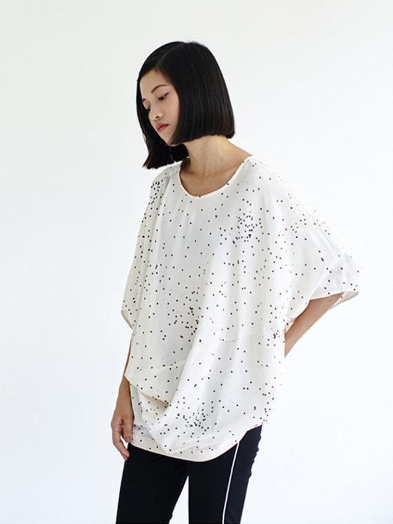Summer Small Polka Dots Batwing Sleeve T-shirt,Oversized Asymmetric Shirt,Tencel Loose Fit Shirt Blouse