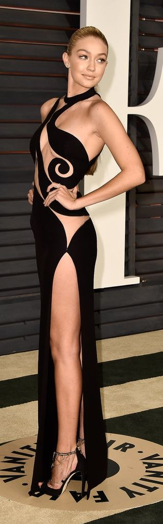 Gigi Hadid in a sexy cutout dress at the Vanity Fair Oscars party