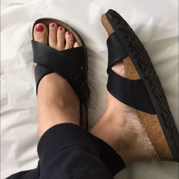 Birkenstock Black sandals! Birkenstock well loved black strap sandals! Adjustable straps! Birkis brand by Birkenstock! Size 39 ladies size 8.5/9 These have been used but have lots of life left! When wearing they look great! Just some wear in the footbed which is natural for Birkenstocks! Pricing accordingly Birkenstock Shoes Sandals