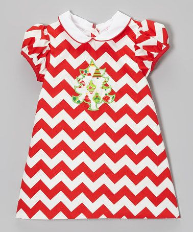 Take a look at this Red & White Zigzag Christmas Tree Dress - Infant & Toddler by RuffleGirl on #zulily today!