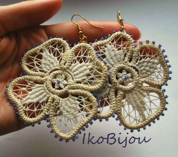Romanian point lace, croshet earrings. #romanianpointlace#chroset  IkoBijou.breslo.ro