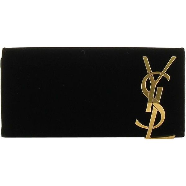 Monogram Clutch ($965) ❤ liked on Polyvore featuring bags, handbags, clutches, black, magnetic closure handbags, yves saint laurent, monogram pochette, monogrammed clutches and monogrammed handbags