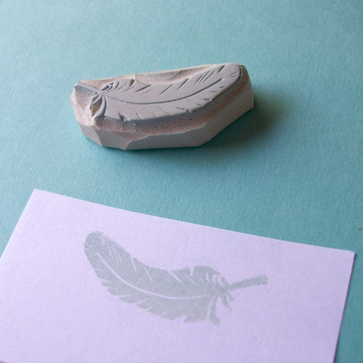 A Feather in Your Cap - Hand Carved Rubber Stamp. $6.00, via Etsy.