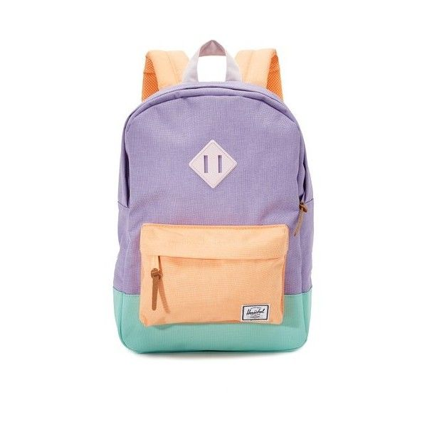 Herschel Supply Co. Heritage Petite Backpack ($51) ❤ liked on Polyvore featuring bags, backpacks, purple bag, day pack backpack, padded bag, rucksack bag and block bag