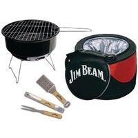 Jim Beam 5-Piece Mini Cooler & Grill Combo Set w/ BBQ Tools - JB0105 ; Includes: [Portable Mini Char