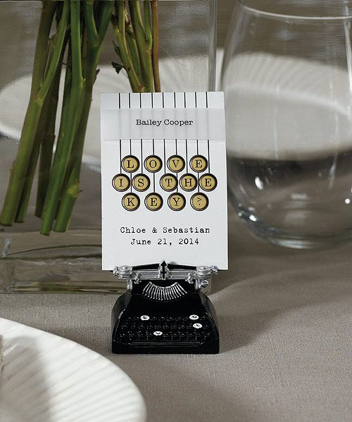 in classic vintage style these miniature typewriters are a charming favor and addition to wedding decor spell out your message of love for all your guests