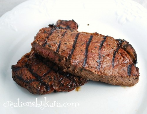 Amazing Steak Marinade1/3 cup soy sauce  1/2 cup oil  1/3 cup lemon juice  1/4 cup Worcestershire sauce  1 1/2 Tbsp garlic powder  3 Tbsp. dried basil  1 1/2 tsp parsley  1 tsp pepper  1 tsp dry minced garlic  3-5# Beef Loin Top Sirloin Steak  Combine all ingredients and pour over steak in an airtight container of your choice. Refrigerate for at least one hour, or overnight. Grill steak