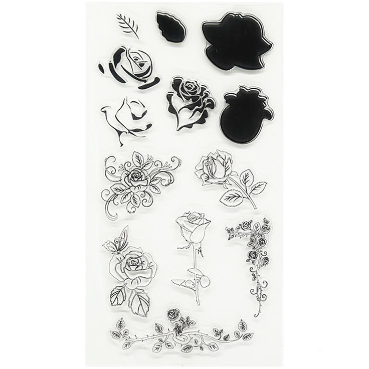 "high quality silicone clear stamp about ""Ros flowers design "" Transparent Stamps for DIY Scrapbooking Card Kids Christmas TM-045"