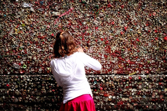 I can't believe I went to Seattle and missed this.  Gum wall.