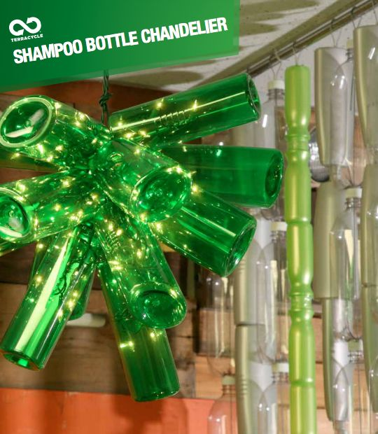 Create a TerraCycle chandelier from shampoo and conditioner bottles!