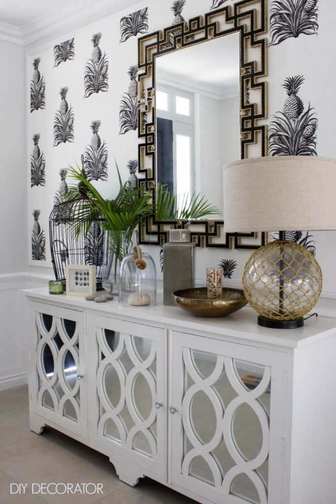 Room Tour A Tropical Hallway Powder Cabinets And Room Wallpaper