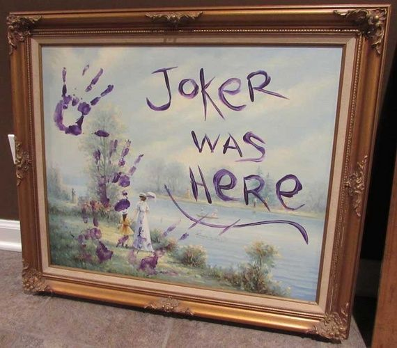 2016 Batman Arkham Asylum Halloween Party-Halloween Forum member dawnski said: I made a Gotham City Museum of Modern Art sign (also seen in Batman '66 TV show). Joker turned it into Ham City Museum of Crappy Art. And then I've included other art that the joker has messed with.