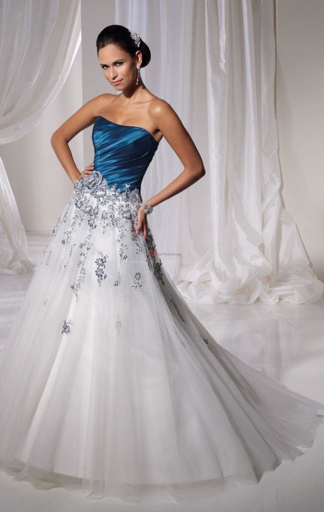 Strapless White And Blue Wedding Dress
