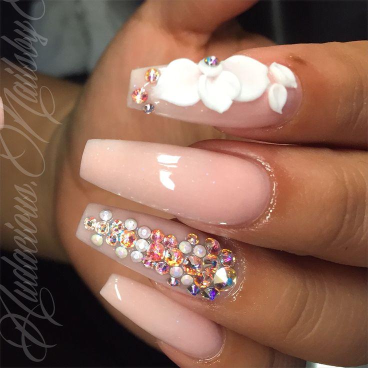 Coffin pink powder 3d nail art Swarovski crystal acrylic nails follow on Instagram @audacious.nailsbyb