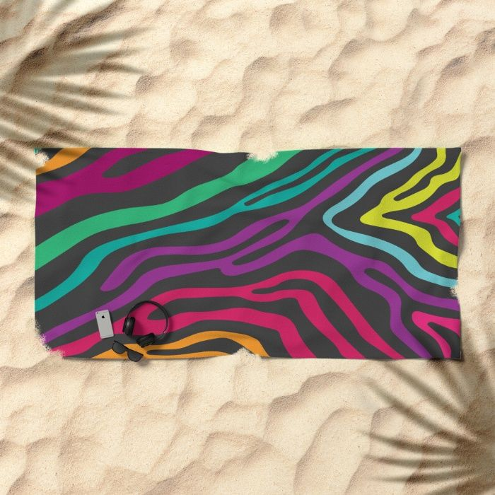 Summer Zebra: Rainbow Beach Towel by REALITY Studios | Society6