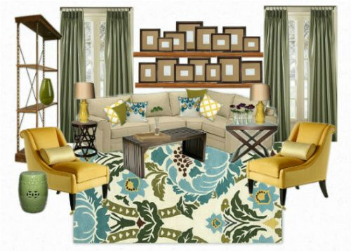 17 Best images about Living Room Mood Boards – Yellow and Green Living Room