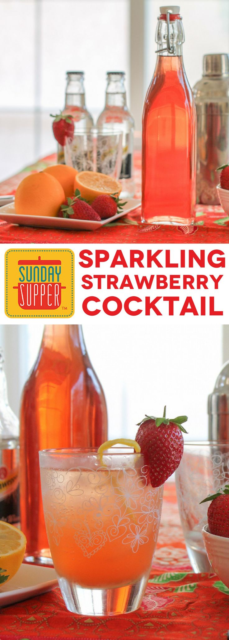 Preserve the color and flavor of sweet @Flastrawberries by making strawberry vodka, then make a sparkling Strawberry Cocktail to celebrate! #FLStrawberry #SundaySupper