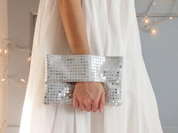 pochette de soire argente pochette mariage tissu argent paillettes portefeuille sac - Pochette Argente Mariage