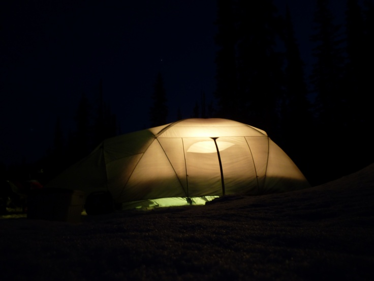 The tent lit up at night.