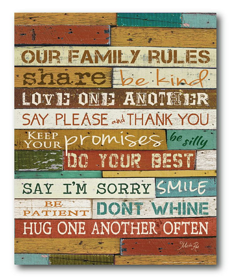 Be kind. Hug one another. Yes. :: 'Our Family Rules' Canvas Wall Art