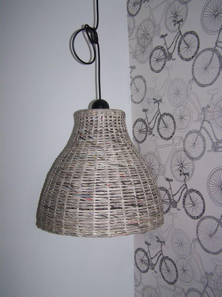 lampa papierowa wiklina eko handmade