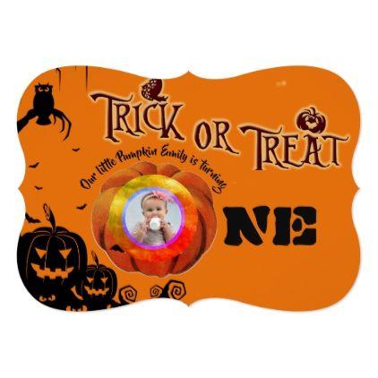 Halloween 1st Birthday PHOTO Pumpkin Invitation - Halloween happyhalloween festival party holiday